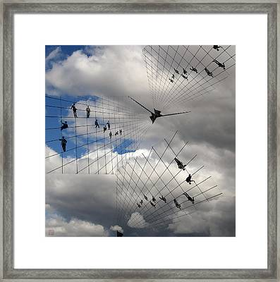 Men Hanging On Framed Print by Roger Smith