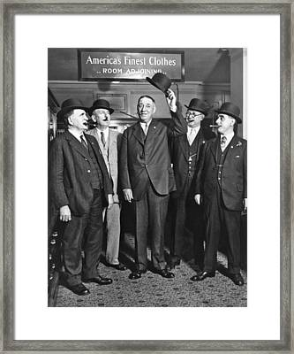 Men, Hats, And Cigars Framed Print by Underwood Archives