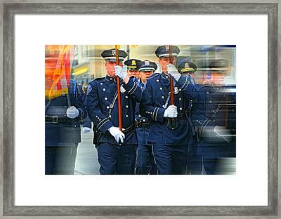Men In Blue Framed Print