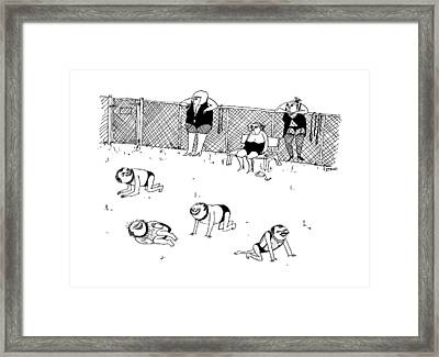 Men In Submissive S&m Outfits Crawl Framed Print by Edward Steed