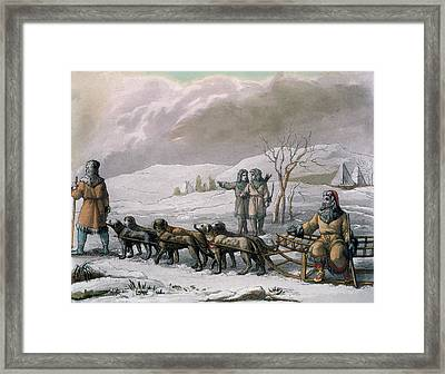 Men Of Kamchatska, With A Dog Sleigh Framed Print by Italian School