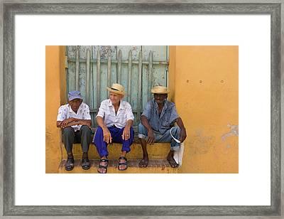 Men On The Street, Trinidad, Cuba Framed Print