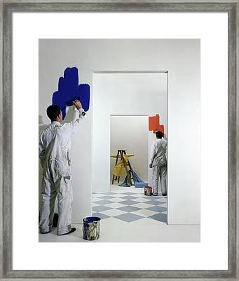 Men Painting Walls Framed Print by Herbert Matter