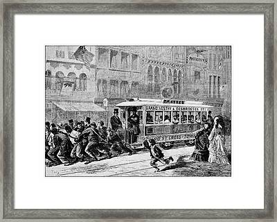 Men Pulling A Tram Framed Print by Cci Archives
