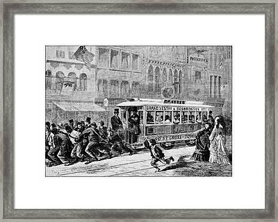 Men Pulling A Tram Framed Print