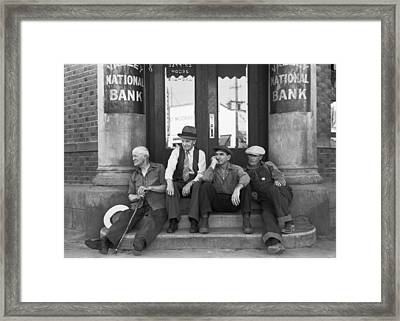 Men Sitting On Bank Steps Framed Print by Russell Lee