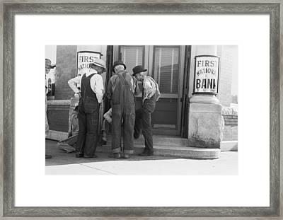 Men Talking On Bank Steps Framed Print by Russell Lee