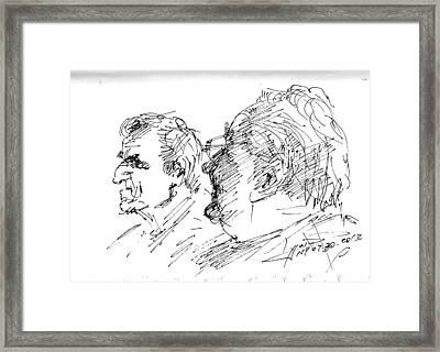 Men Talking Framed Print by Ylli Haruni