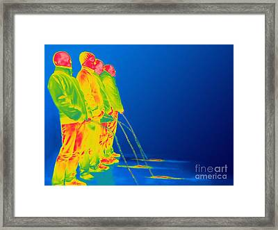 Men Urinating, Thermogram Framed Print by Thierry Berrod, Mona Lisa Production/ Science Photo Library