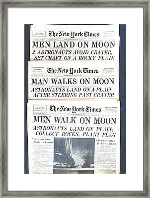 Men Walk On The Moon Framed Print