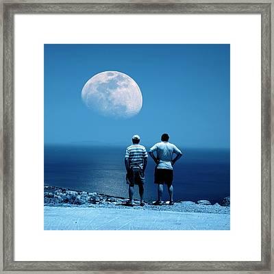 Men Watching The Moon Framed Print