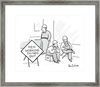 Men Working Things Framed Print by Leo Cullum