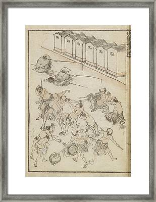 Men Wrestling And Fishing Framed Print by British Library