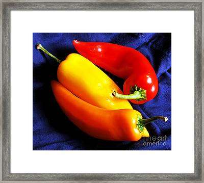 Menage A Trois Peppers Iv Framed Print by Nancy Mueller