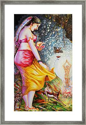 Menaka On Verge Of Breaking Vishwamitra Meditation Framed Print by Arun Sivaprasad