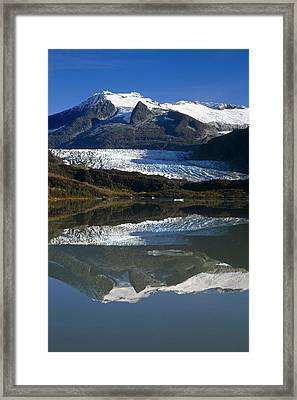 Mendenhall Glacier Reflects In Its Own Framed Print by Peter Barrett