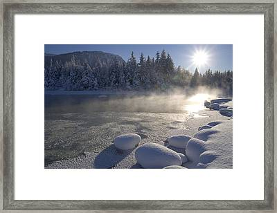 Mendenhall River Flowing Through Snow Framed Print by John Hyde