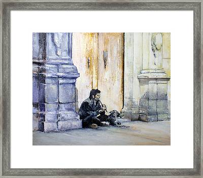 Mendicant With Dog Framed Print by Tomas Castano