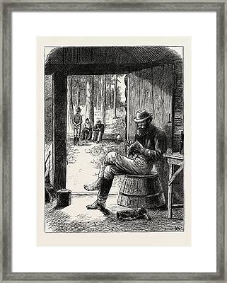 Mending Ones Own Stocking, Gold In Canada Framed Print