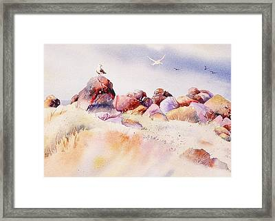 Framed Print featuring the painting Mendocino Birds by John  Svenson