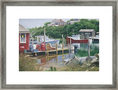 Menemsha Harbor Reds - Martha's Vineyard Framed Print by Julia O'Malley-Keyes