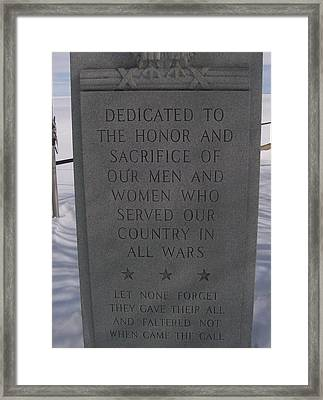 Menominee Memorial Framed Print