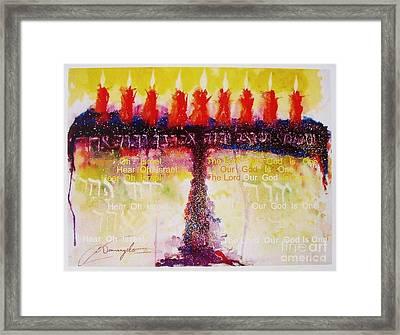 Menorah - Shema Yisrael Framed Print