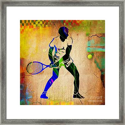 Mens Tennis Painting Framed Print by Marvin Blaine