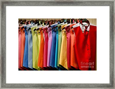 Mens Tuxedo Vests In A Rainbow Of Colors Framed Print