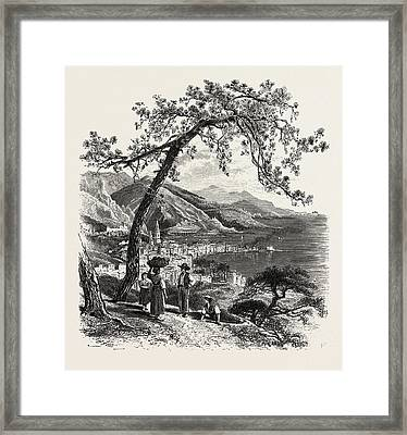 Mentone, The Cornice Road, Menton, France Framed Print by French School