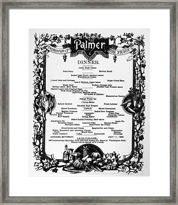 Menu Palmer House, 1885 Framed Print