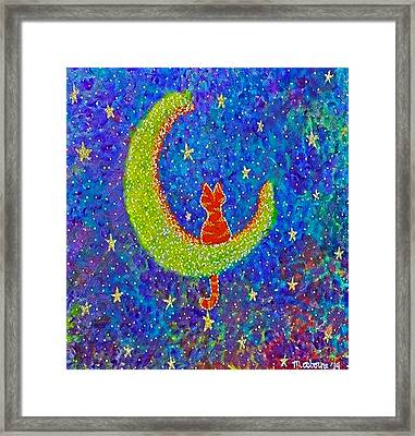 Meow At The Moon Framed Print