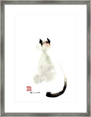 Meow Curious Cute Kitten Little Cat Watercolor Painting Funny Cats Framed Print by Mariusz Szmerdt