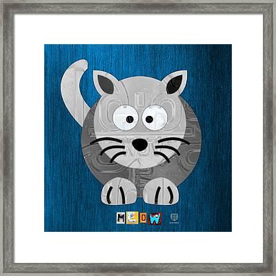 Meow The Cat License Plate Art Framed Print by Design Turnpike