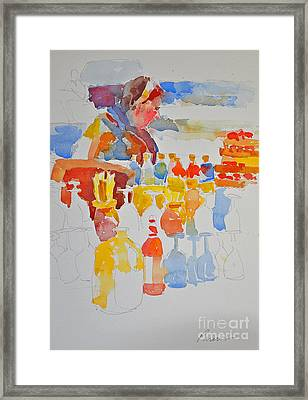 Mercado Lady With Bottles Framed Print