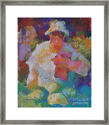 Mercado Lady With Melons Framed Print by Roger Parent