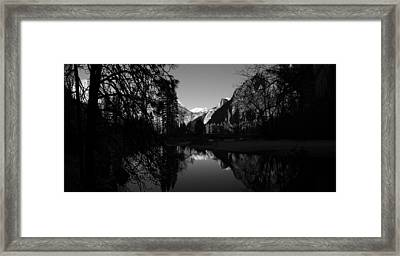 Merced River Black And White Reflection Framed Print by Scott McGuire