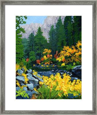 Merced River In Autumn Framed Print by Alice Leggett