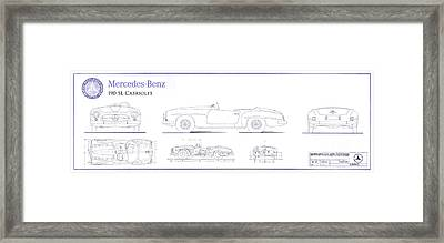 Mercedes 190sl Cabriolet Blueprint Framed Print by Jon Neidert