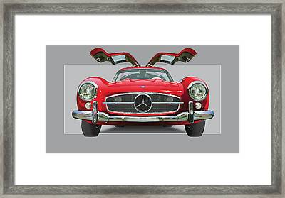 Mercedes 300 Sl Gull Wing Framed Print by Alain Jamar