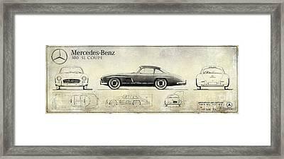Mercedes 300sl Blueprint Drawing A Framed Print by Jon Neidert