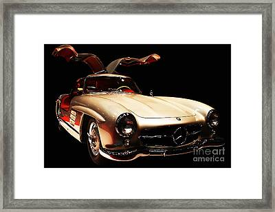 Mercedes 300sl Gullwing . Front Angle Black Bg Framed Print by Wingsdomain Art and Photography