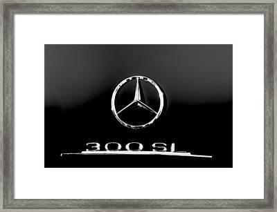 Mercedes-benz 300 Sl Emblem -0121bw Framed Print by Jill Reger