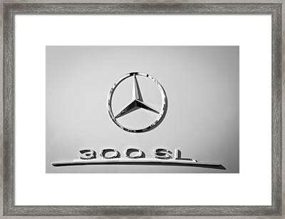 Mercedes-benz 300 Sl Emblem -0190bw Framed Print by Jill Reger