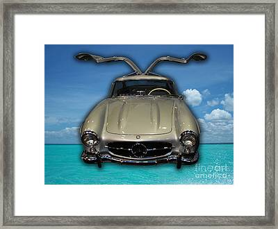 Mercedes Benz Flys Over Perfect Turquoise Blue Framed Print by Heather Kirk