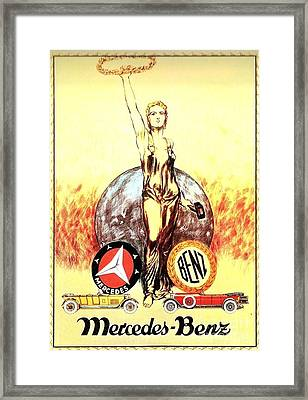 Mercedes Benz - Poster 1926 Framed Print by Roberto Prusso
