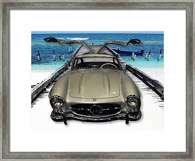 Mercedes Benz On Landing Strip Framed Print by Heather Kirk