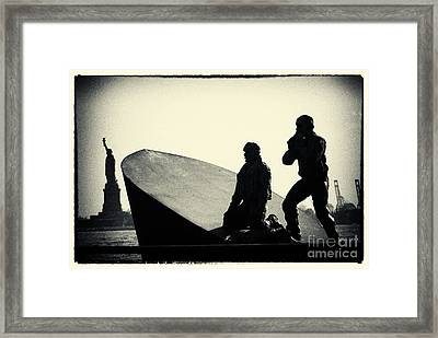 Merchant Mariners' Memorial And Statue Of Liberty New York City Framed Print by Sabine Jacobs