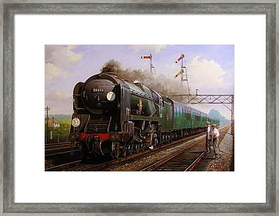 Merchant Navy Pacific At Brookwood. Framed Print by Mike  Jeffries