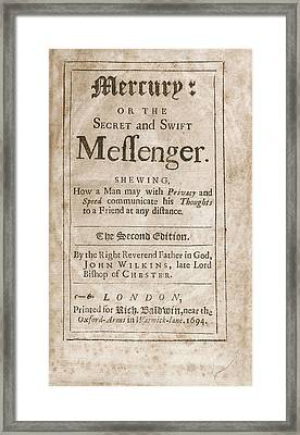 'mercury' (1694) Framed Print by Library Of Congress